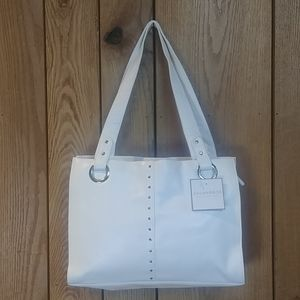 NWT White Studded Work Tote Shoulder Hand Bag